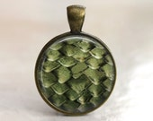 Dragon Scales - Glass Pendant in Antiqued Gold Bezel Setting - 25mm or 1 Inch round