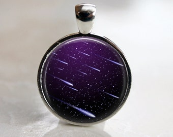 Meteor Shower -  Glass Pendant in a Shiny Silver Bezel Setting - 25mm or 1 Inch round