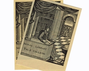 2pcs YALE BOOK PLATES 1970s Vintage Moral Library