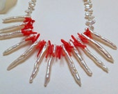 Coral and Freshwater Stick Pearls with Sterling Silver Handmade Necklace Set, Statteam