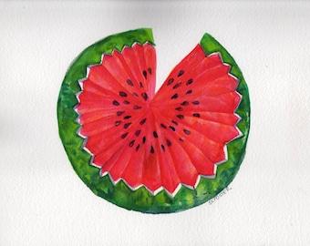 Watermelon watercolor painting original, watermelon painting, culinary watercolor, culinary painting, kitchen decor, watermelon wall art