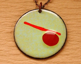 Abstract Necklace - Copper Enameled Pendant - Red Yellow Blue