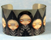 Three Witchy Sisters metal cuff bracelet from Jasmine Becket-Griffith Art witch fairies fairy 3