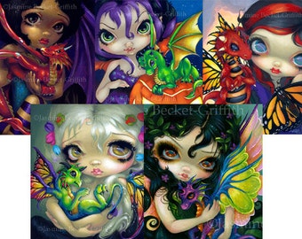 Darling Dragonling Collection Set of FIVE 8x10 art prints by Jasmine Becket-Griffith SIGNED baby fairy dragons