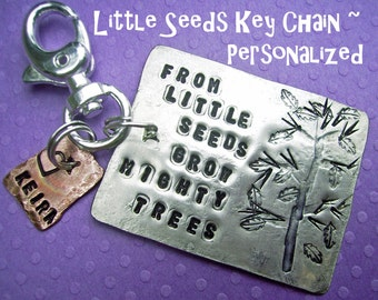 Little Seeds Key Chain  - Hand Stamped Rustic Antiqued Silver key chain personalized, copper charm, family tree key chain, teacher gift, usa