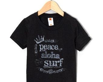 BIG SALE the Cole Peace Aloha Surf silkscreen tire tread black burnout toddler tshirt made in Hawaii by Happy Honu Maui