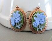 Butterfly Earrings, Copper Earrings, Cameo Earrings, Butterfly Cameo, Blue Butterfly, Cameo Jewelry, Blue and Green, Dangle Earrings,