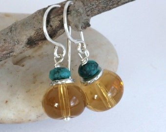 CITRINE GLASS Genuine Turquoise Sterling Silver Dangle Drop Artisan Earrings