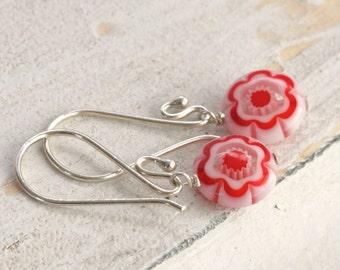 RED FLOWERS Millefiori and Sterling Silver Dangle Drop Earrings // luluglitterbug