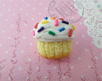 Confetti Cupcake Magnet, Miniature Food Jewelry, Polymer Clay Food Magnet