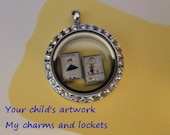 FLOATING CHARMS - Child's Art - 1 charm - NeW ShAPES - personalized artwork - send me your kid's drawings and I'll make you a charm