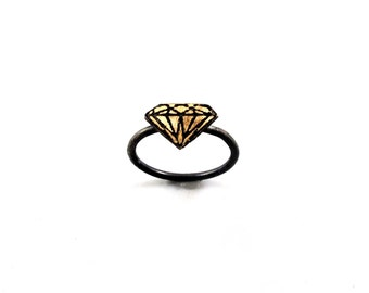 Diamond Solitaire Ring in Sterling and Brass