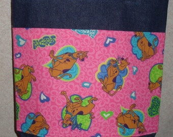 New Medium Denim Tote Bag Handmade with Pink Scooby Doo Fabric