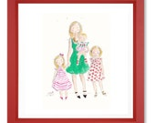 Custom watercolor mother & 3 child portrait