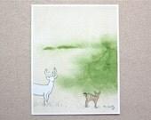 Deer Art, Fawn art, woodland art, Watercolor Painting, Pencil drawing, mixed media 5x7 print