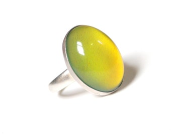 Adjustable Mood Ring, Large Sterling Silver