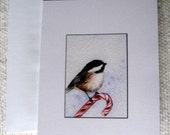 Chickadee Christmas Card - Candy Cane Perch