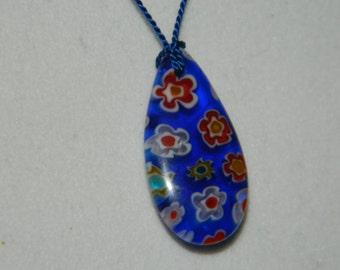 SALE Necklace,  Millefiori Pendant on Silk Cord Necklace