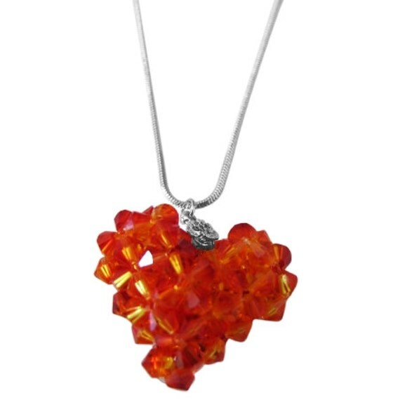 NSC679 Fire Opal Swarovski Crystals Autumn 3D Puffy Heart Pendant Necklace Free Shipping In US