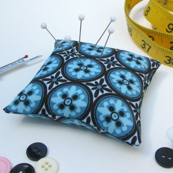 Large Emery Pincushion / Pin Cushion - Teal and Brown Tile