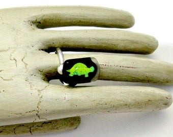 Dichroic Funky Turtle Fused Glass Sterling Silver Adjustable Ring