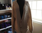 Mens Wool Cabled Cardigan XXL+ Size