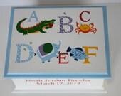 Baby Keepsake Box Memory Box Baby - ABC animals alphabet personalized baby shower gift hand painted box