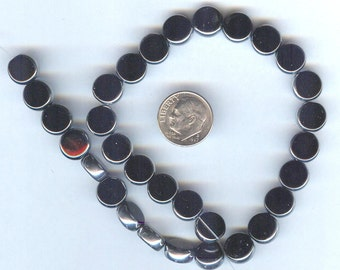 """Jet Black Electroplate Glass Round Coin Beads 10mm 7"""" 16pcs"""