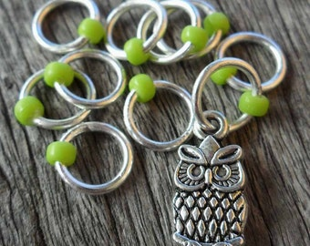 Small Snag Free Knitting Stitch Markers Silver Tone Owl Charm Green Seed Beads Fits Needles Up To 4.5mm