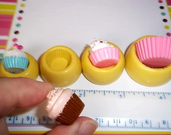 Set/4 Cupcake Bases Flexible Push Molds Mould For Resin Clay Chocolate - Food Safe Silicone - E332