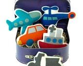 Set of 3 Bon Voyage Play Set, Transportation Theme Suitcase, kids pretend play, toys for kids boy, nursery decoration, unique birthday gifts