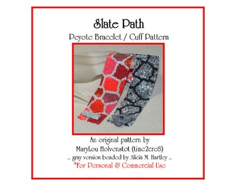 Peyote Bracelet Pattern ... SLATE PATH ... Cuff . Multicolor Design . Shades of Gray . Nature . Irregular Shapes . Abstract . 3 for 2