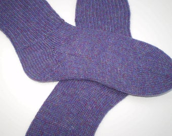 SALE . Hand knit socks . Knit socks . Twilight foot hugs . Wool blend knit socks . Purple handknit socks . Made in Canada . Adult Medium
