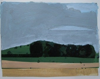 Little Grove, Heatwave, Original Landscape Collage Painting on Paper, Stooshinoff