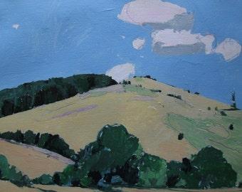Peek, August 23, Original Landscape Painting on Paper, Stooshinoff