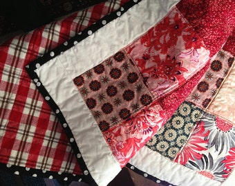 100% Cotton Modern Patchwork Baby, Toddler, Stroller Quilt, Red, White, Black Pink Plaid Flannel Backing