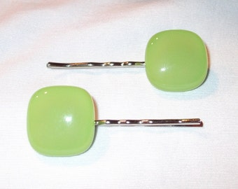 Glass Bobby Pin Set, Green Fused Glass, Handmade Hair Accessories, Women's Accessories, Green Glass Hair Pins