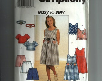 Simplicity Girls' Dress, Top, Shorts, and Headbands Pattern 7610