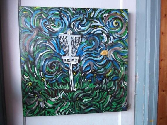 disc golf day dream  original painting on wood 2ftx 2ft