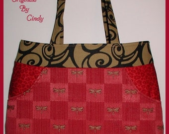 Burgundy Dragonfly Purse Large Outside Pockets Leopard Tan Black Cosmetics Pouch Dragonflies Roses Tote Bag