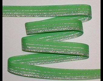 Lime And Silver Stripes Grosgrain Ribbon Metallic Striped Green 5 1/2 yards 7/8 wide cbseveneight