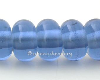 Lampwork Spacer Glass Beads 5 CARIBBEAN BLUE Glossy & Matte Handmade Donut Rondelle - taneres