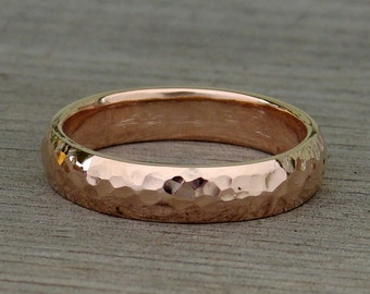 5mm Wide Comfort-Fit Wedding Band - Recycled 14k Rose Gold, Hammered, Polished, Eco-Friendly, Made to Order