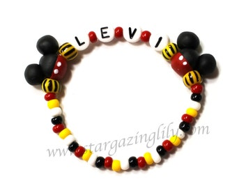 Black Mouse ear Jewelry Hypoallergenic Personalized Name Bracelet Children Toddler Kids mouse ears Red Black Beaded boys bracelet
