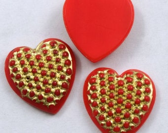 15mm Gold on Red Heart  #XS3-A