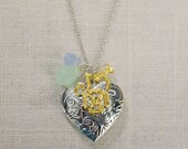CLEARANCE . floral blues (bits and pieces sale) // silver heart necklace . silver heart locket . flower necklace . locket charm necklace