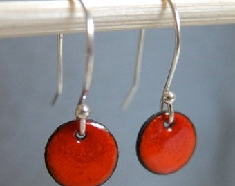 Petite Ombre Enamel Earrings, Orange and Red Kiln Fired Glass Enamel, Sterling Silver Hooks, Small Dangle Earrings