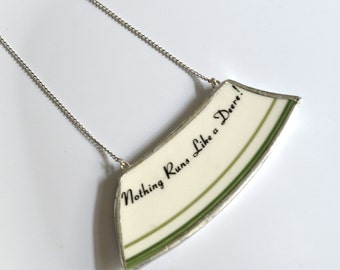 "Wide Rim Broken China Jewelry Necklace  - John Deere 4"" Necklace"