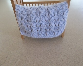 Miniature Blanket.Light/Pale Blue, Miniature Crib Doll House Blanket/Afghan - One Twelfth Scale Doll House