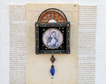 Free Shipping in USA - Assemblage Mixed Media - Sacred Heart of Mary